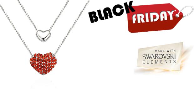 SUPER BLACK FRIDAY! Colar Dual Heart com Cristais Swarovski Elements! (Portes Incluídos)