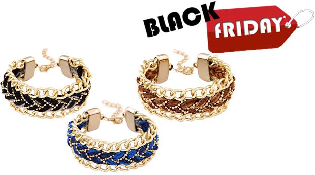 SUPER BLACK FRIDAY! Pulseira Braided Gold! 3 Cores Disponíveis! (Portes Incluídos)