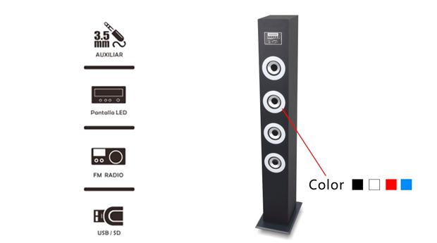 Coluna de Som com  Bluetooth, USB, SD, Rádio FM e Amplificador!
