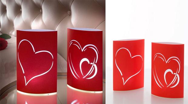 Pack de 2 Lanternas de Papel Coração com Luz LED!